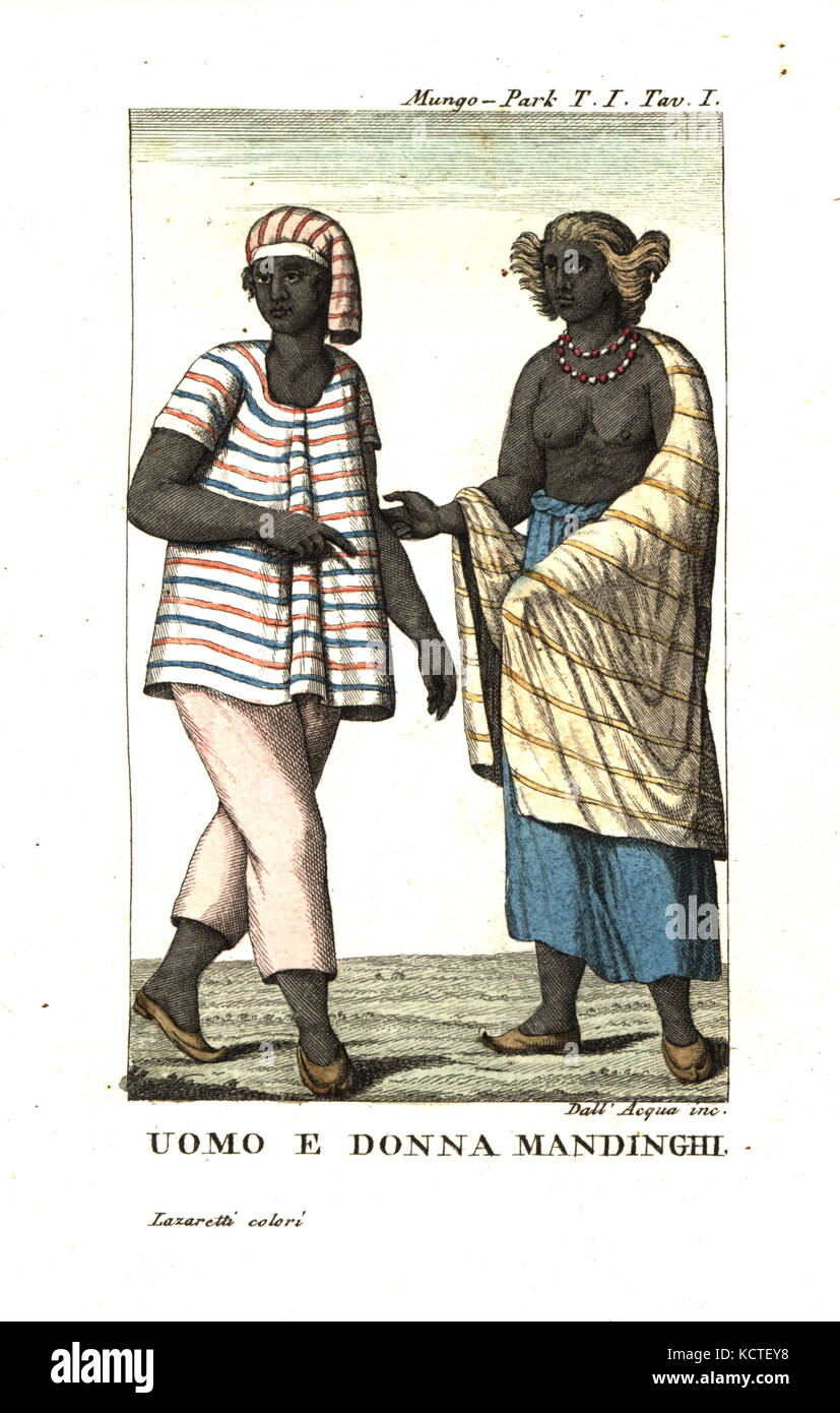 Mandinka (Mandingo) man and woman of West Africa. From Mungo Park's Travels in the Interior of Africa. Copperplate - Stock Image
