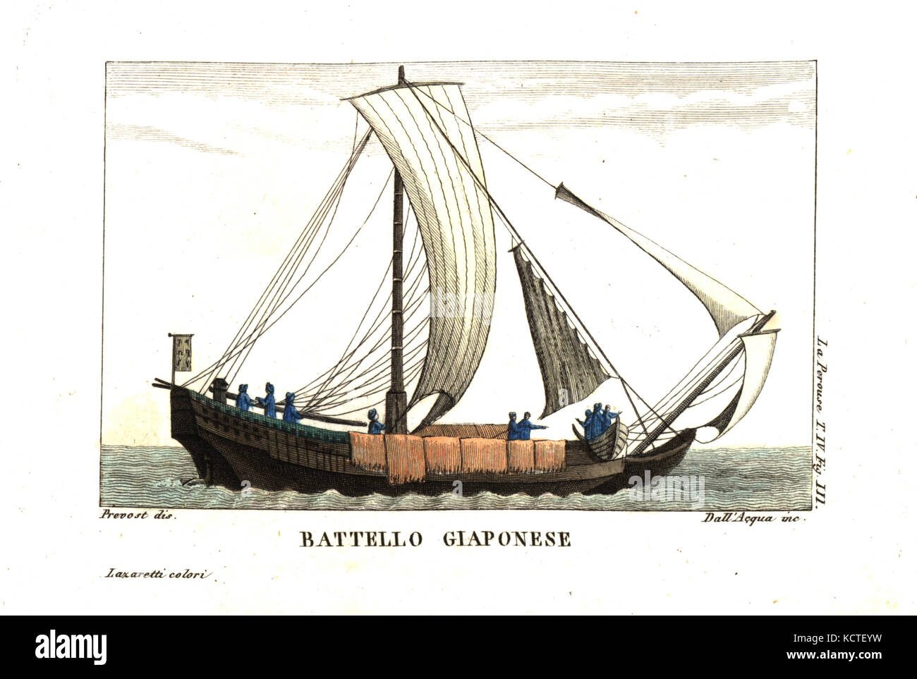 Japanese sailboat. Illustration by Jean Louis Prevost from Jean Francois Laperouse's Voyage. Copperplate engraving - Stock Image