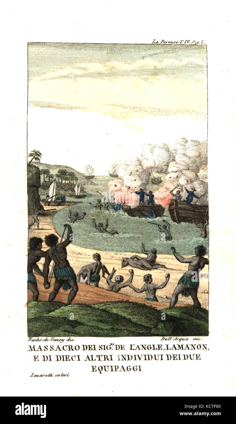 Massacre of French officers de Langle, Lamanon and 10 sailors by natives of the New Hebrides (Vanuatu). Illustration Stock Photo