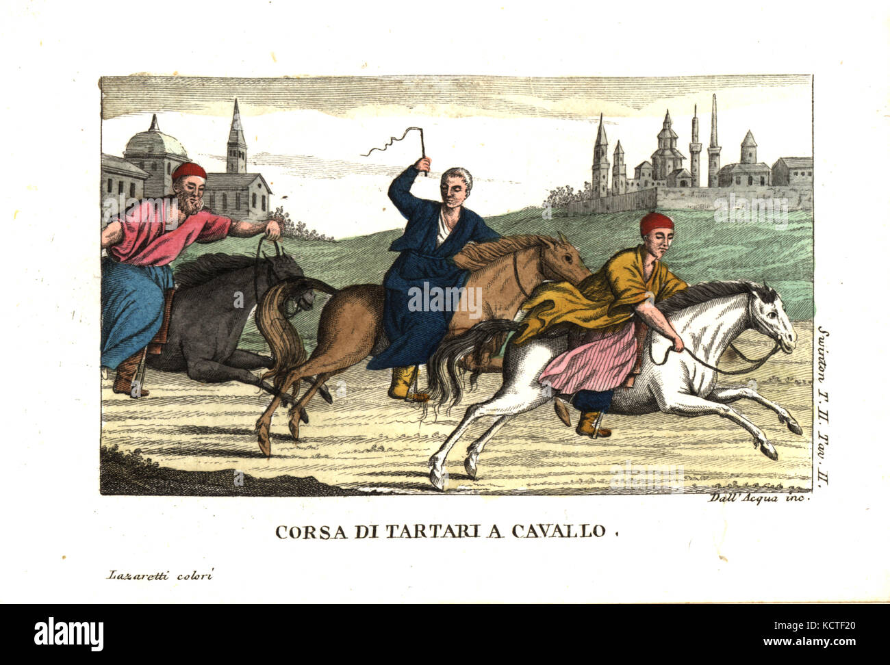 Tartars or tatars horse-racing. Illustration from Andrew Swinton's Travels into Norway, Denmark and Russia, 1792. - Stock Image