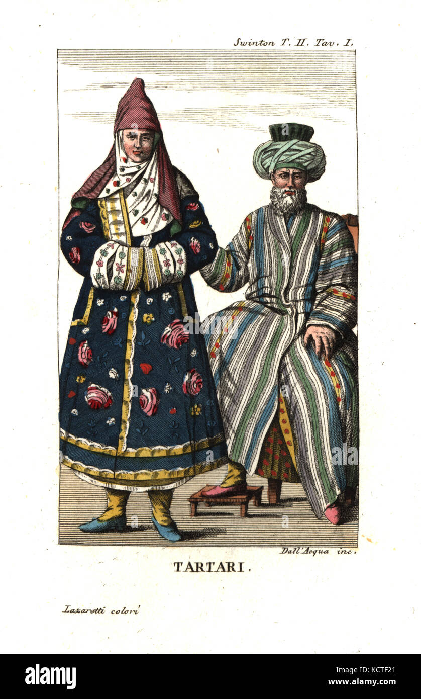 Tatars or Tartars in traditional costume. Illustration from Andrew Swinton's Travels into Norway, Denmark and Russia, - Stock Image