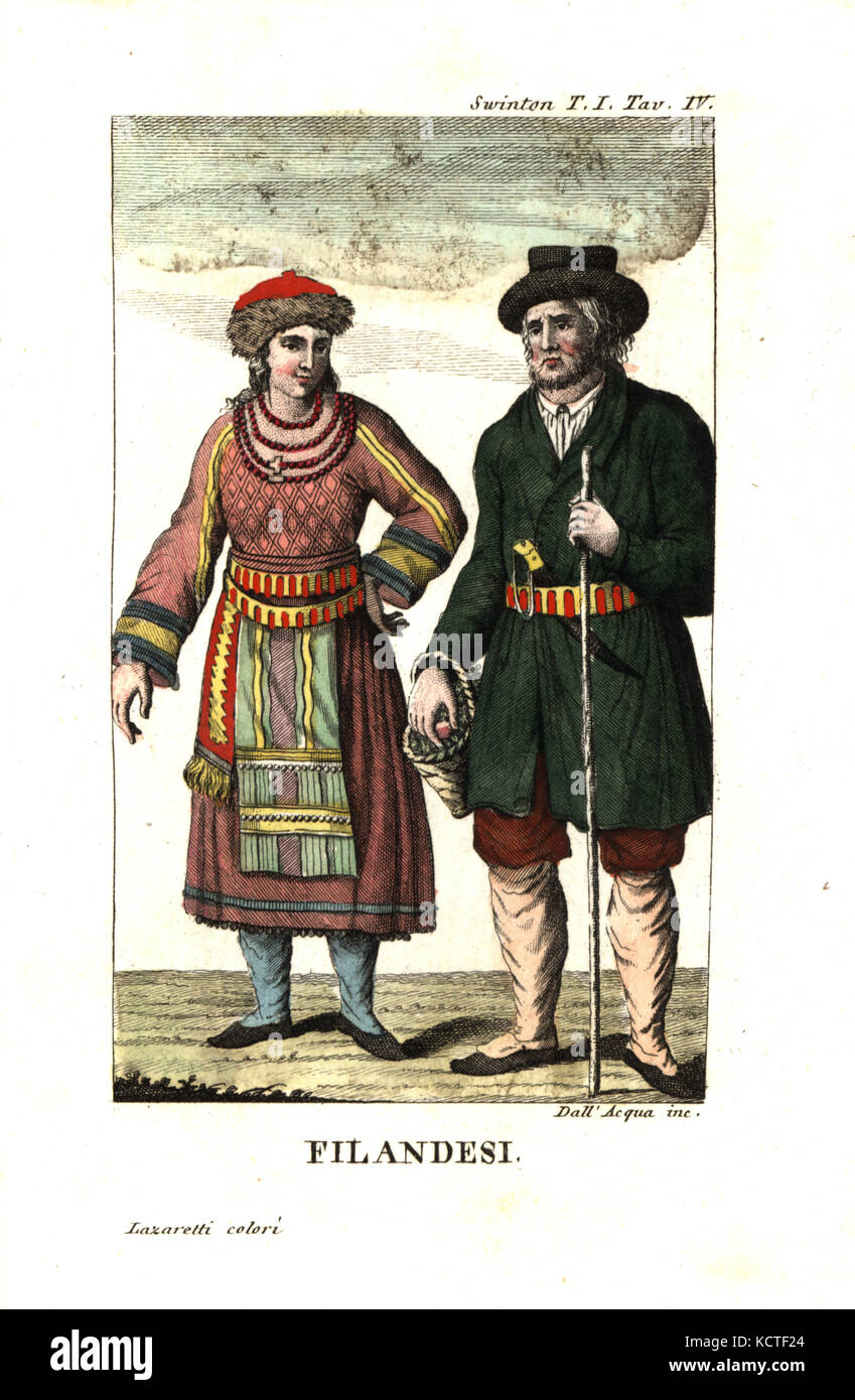 Finns or Finnish people in traditional costume, Finland. Illustration from Andrew Swinton's Travels into Norway, - Stock Image
