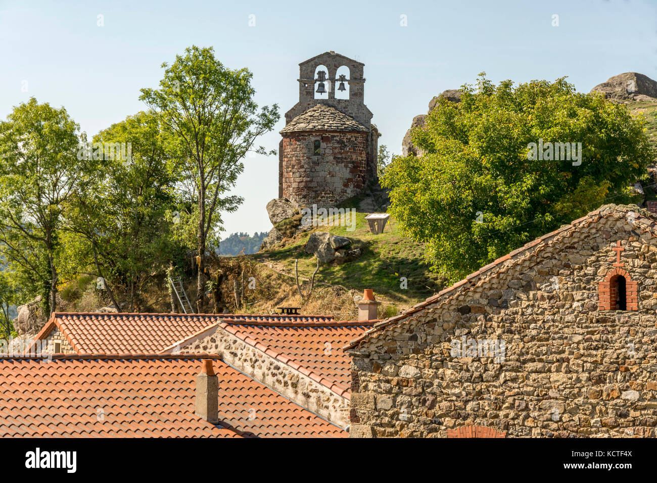 The chapel of St James on the Way of St James in Rochegude village. Haute Loire. Auvergne. France - Stock Image