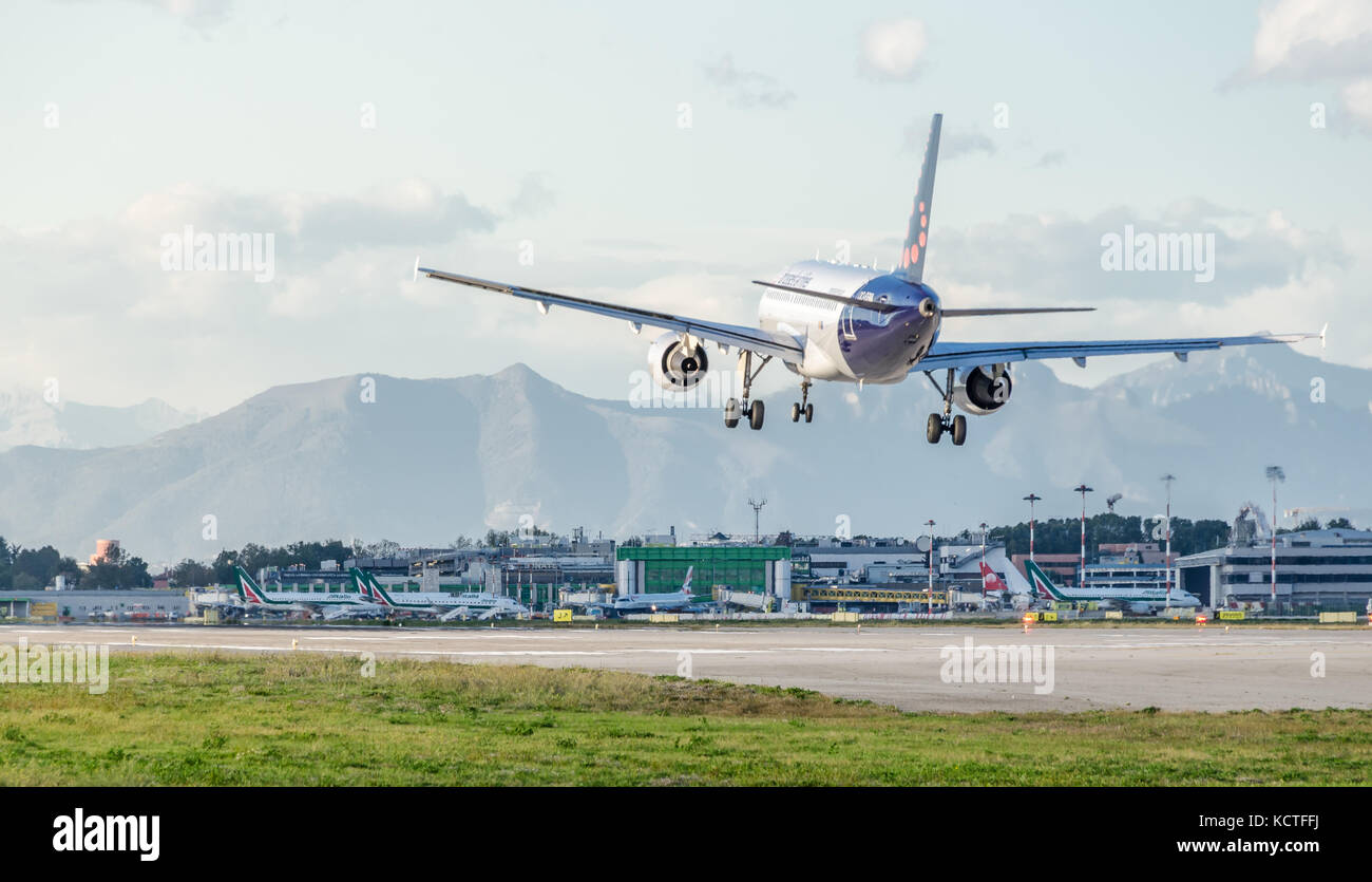 An Air Brussels A320-200  landing at Milan Linate Airport. These planes operate short-haul flights within Europe - Stock Image