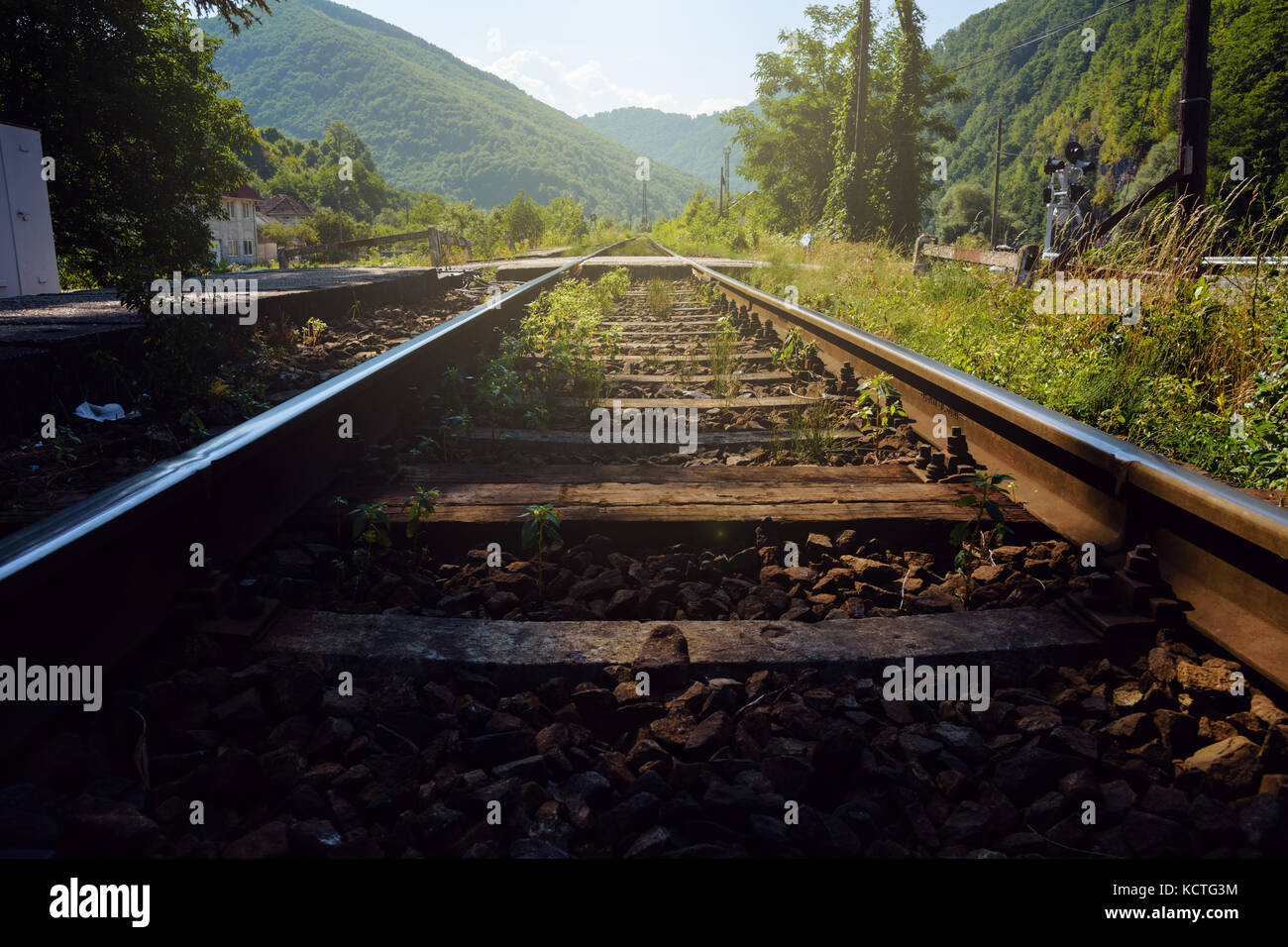 Low Angle View Of Railway Tracks With Diminishing Perspective Leading To Lush Green Mountains - Stock Image