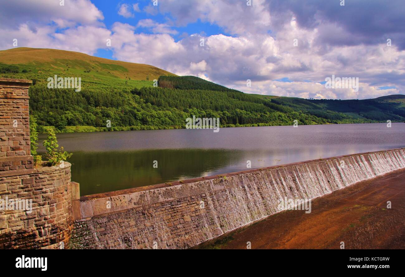 Largest freshwater reservoir in Brecon Beacons, near Talybont-on-Usk village. - Stock Image
