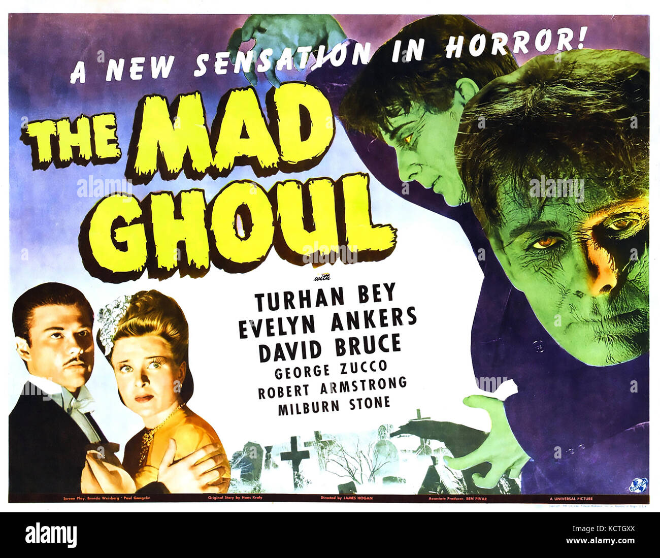 THE MAD GHOUL 1943 Universal Pictures sci-fi film Stock Photo