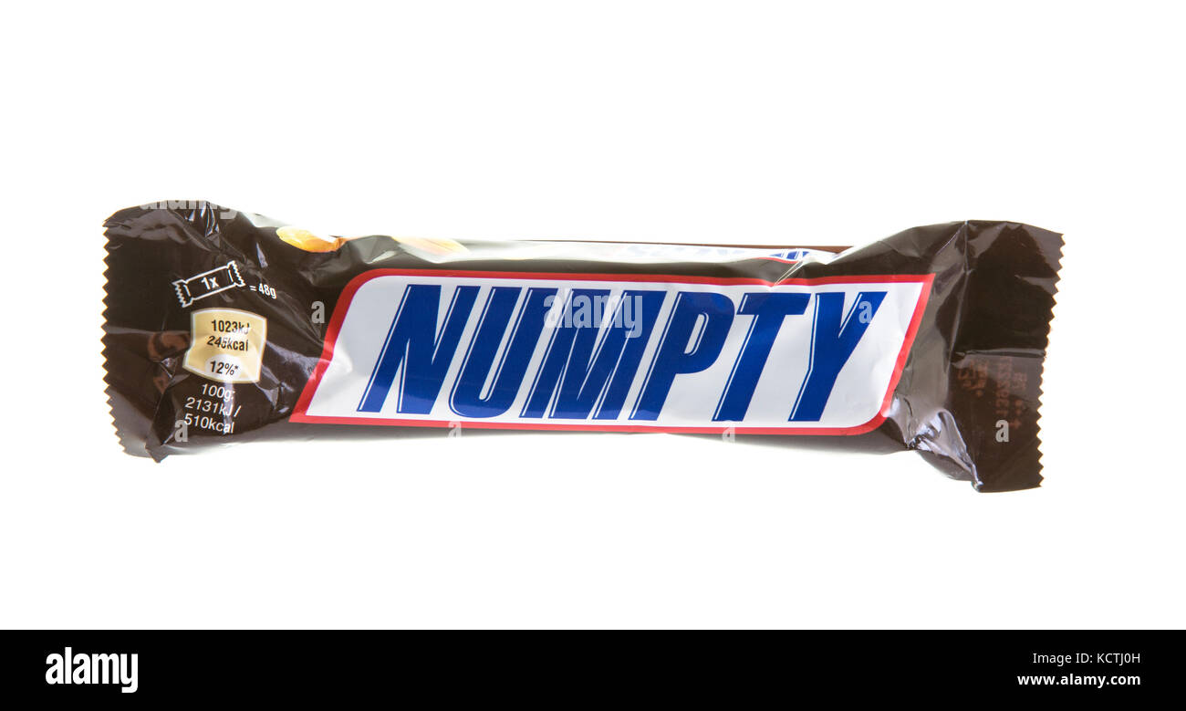 SWINDON, UK - OCTOBER 6, 2017: Snickers  NUMPTY chocolate  bar on a white background - Stock Image