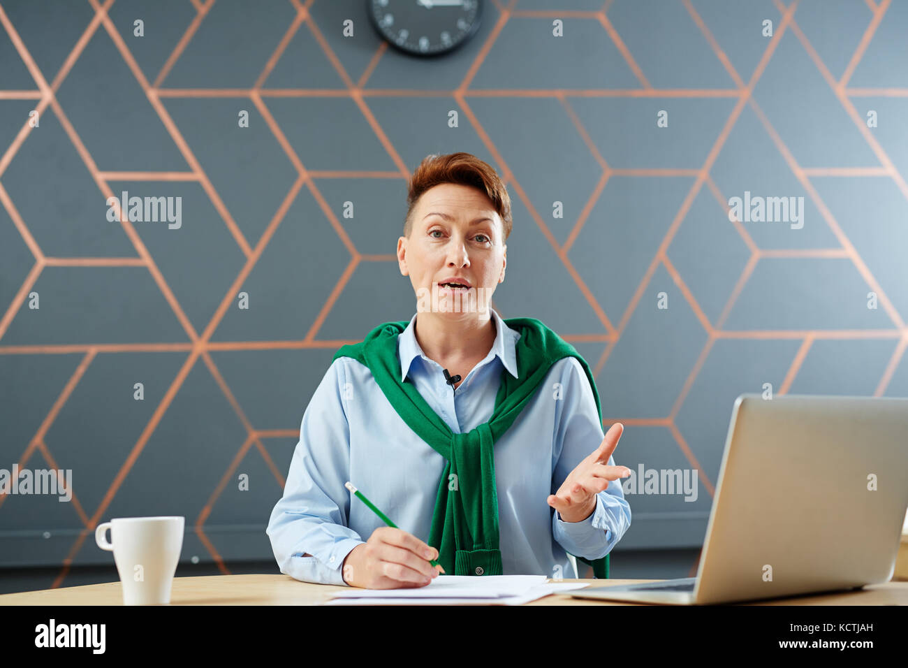 News reader - Stock Image