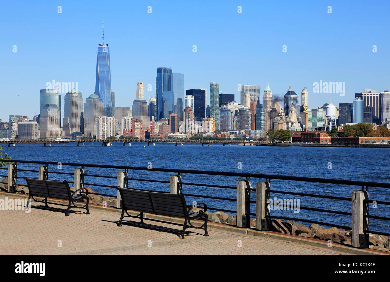 The view of the skyline of Lower Manhattan Financial District with Freedom Tower from Liberty State Park.Jersey Stock Photo