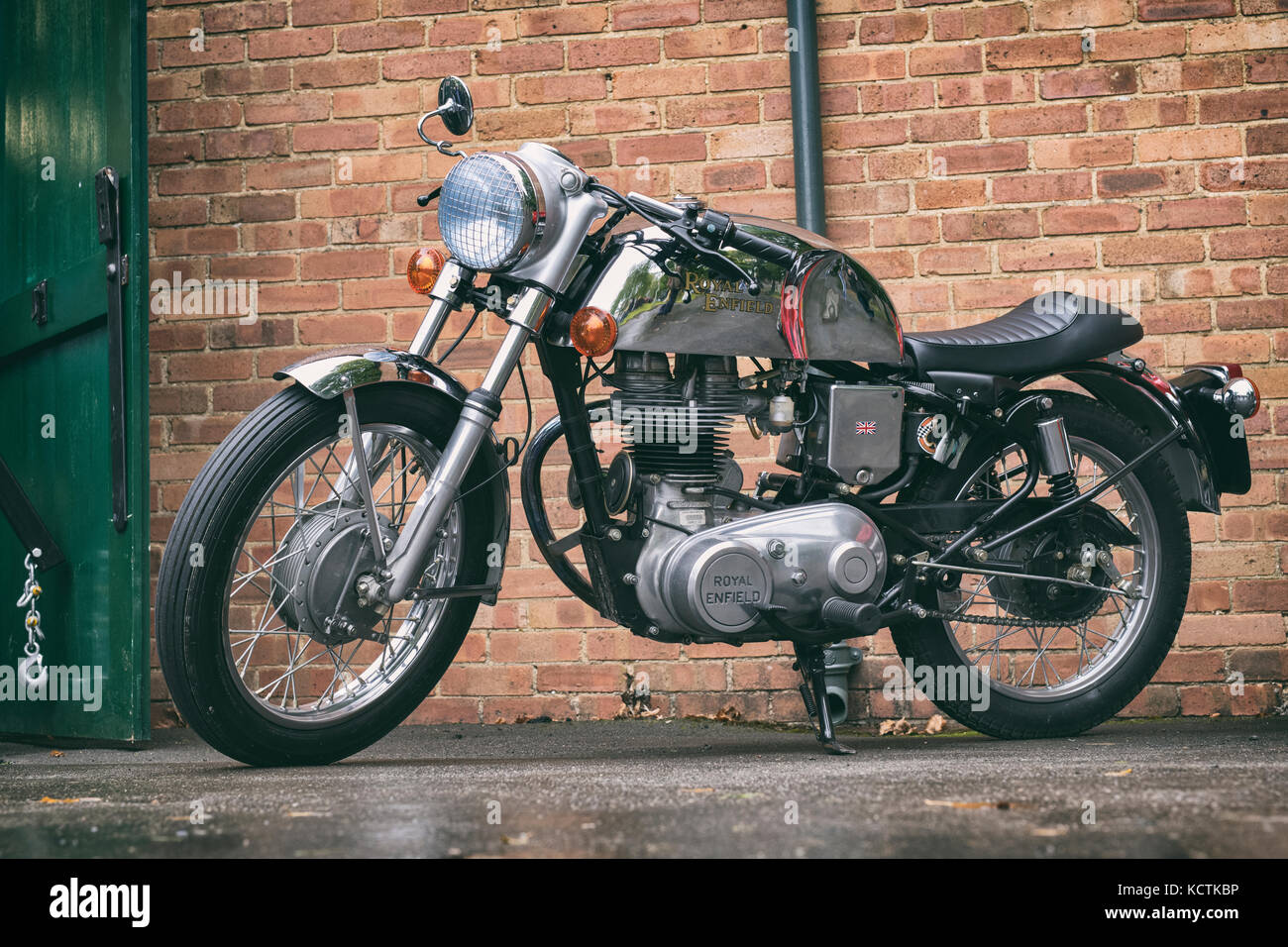 Royal Enfield cafe racer motorcycle at Bicester Heritage Centre