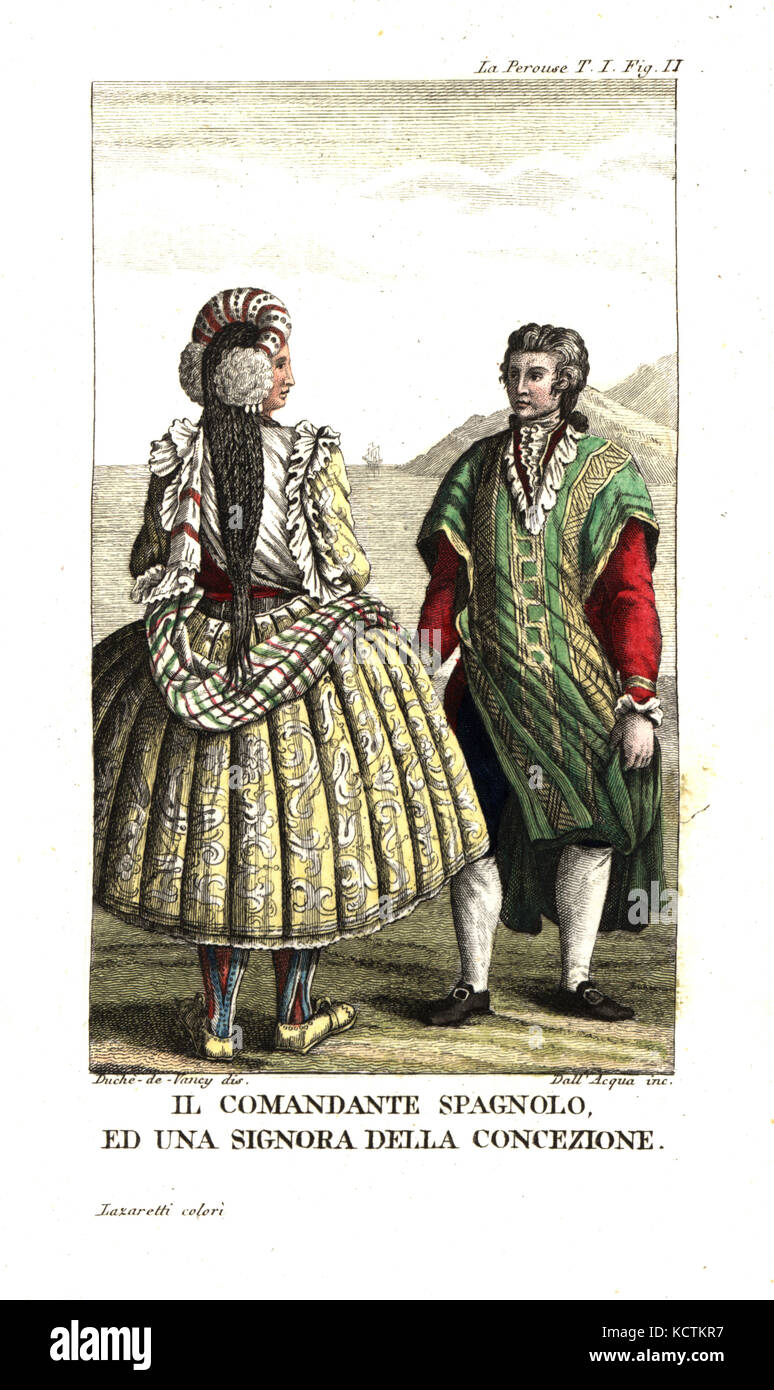 Spanish commandant and a woman of Concepcion, Chile, in full skirts with petticoats, plaited hair and shawl. Illustration - Stock Image