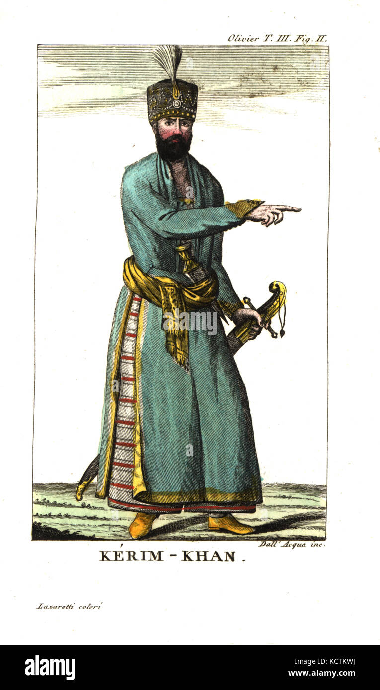 Mohammad Karim Khan Zand or Karim Han, founder of the Zand Dynasty, 1705-1779. Illustration from Guillaume-Antoine - Stock Image