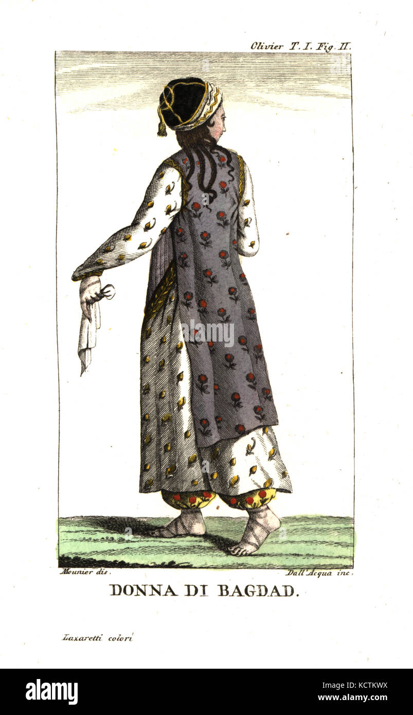 9b3171f19e01cf Woman of Baghdad in everyday dress of botanical-print robes, harem pants  and sandals