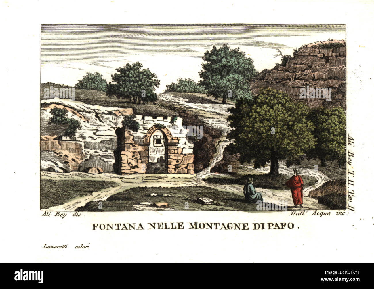 A fountain among the mountains of Paphos, Cyprus. Illustration by Ali Bey el Abbassi from his Travels in Morocco, - Stock Image