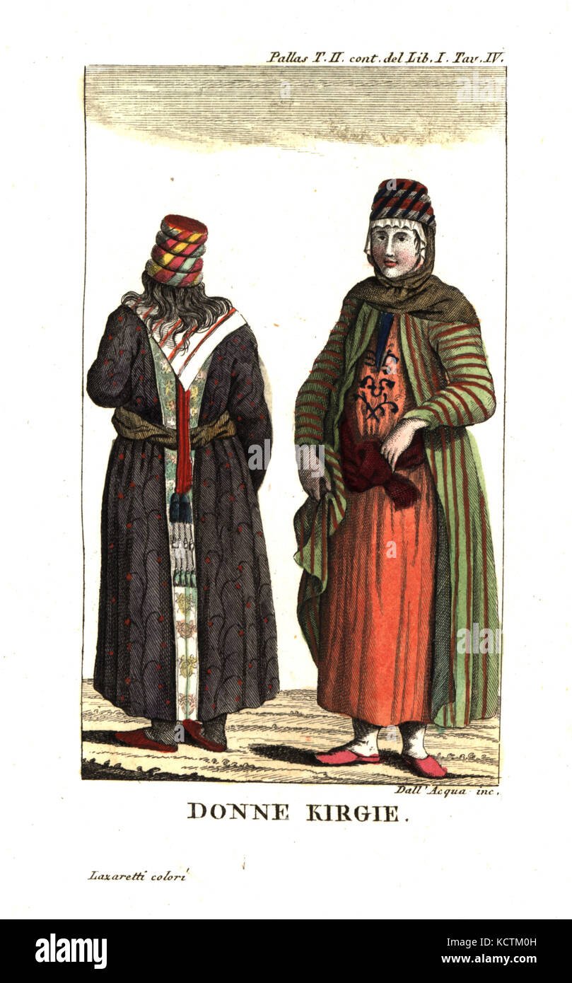 Kyrgyz women in traditional costume. Illustration from Peter Simon Pallas' Travels through the southern provinces - Stock Image
