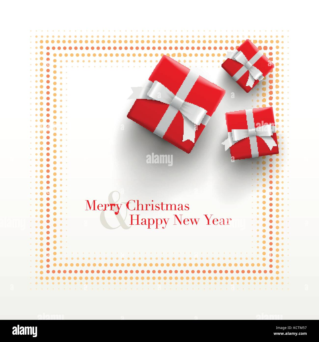 merry christmas and happy new year card design red gift boxes with dotted frame on white background
