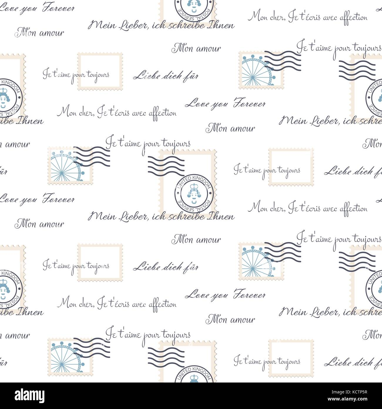 Romantic Love Letters | Romantic Love Letters Seamless Vector Pattern On White Inscriptions
