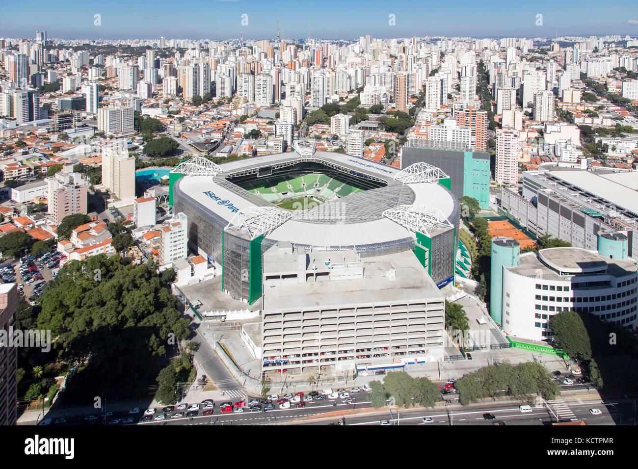 aerial view of Allianz Parque, in the city of São Paulo - Brazil. Soccer stadium of Sociedade Esportiva Palmeiras - Stock Image