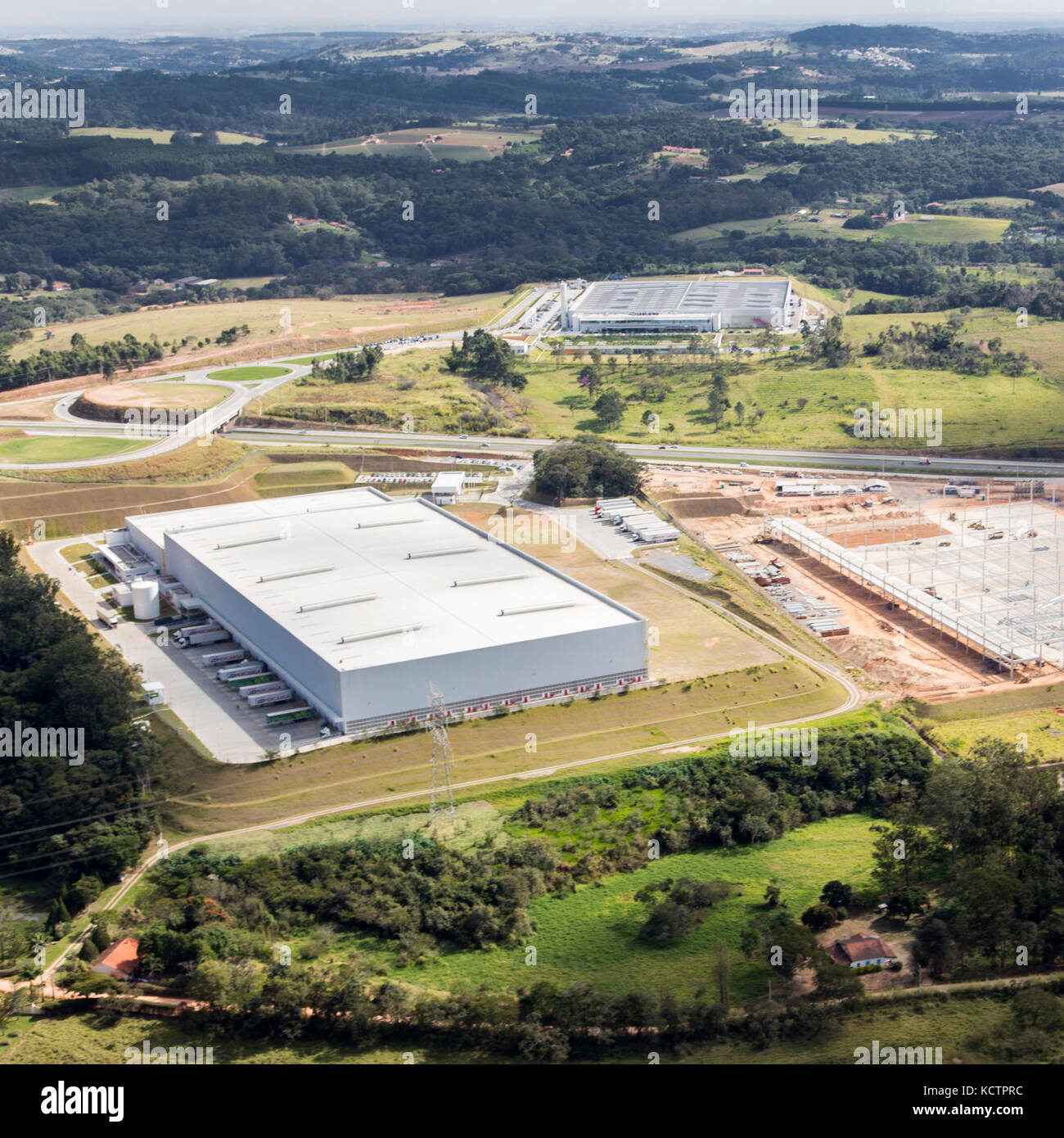 aerial view of Natura Distribution Center near Jundiaí - Brazil - Stock Image