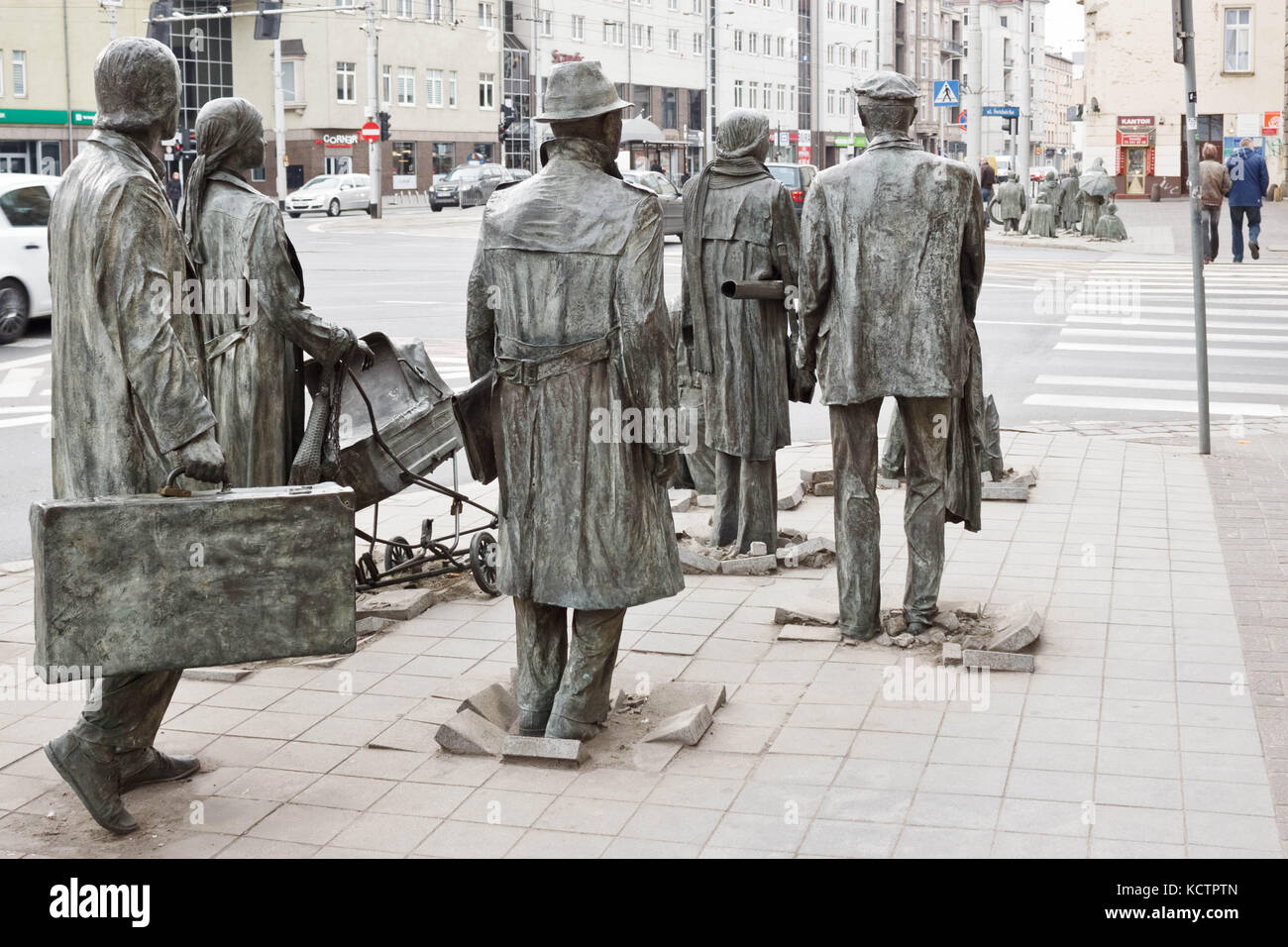 March 1, 2015 - Wroclaw, Poland: The Anonymous Pedestrians - memorial to the introduction of martial law in Poland. - Stock Image