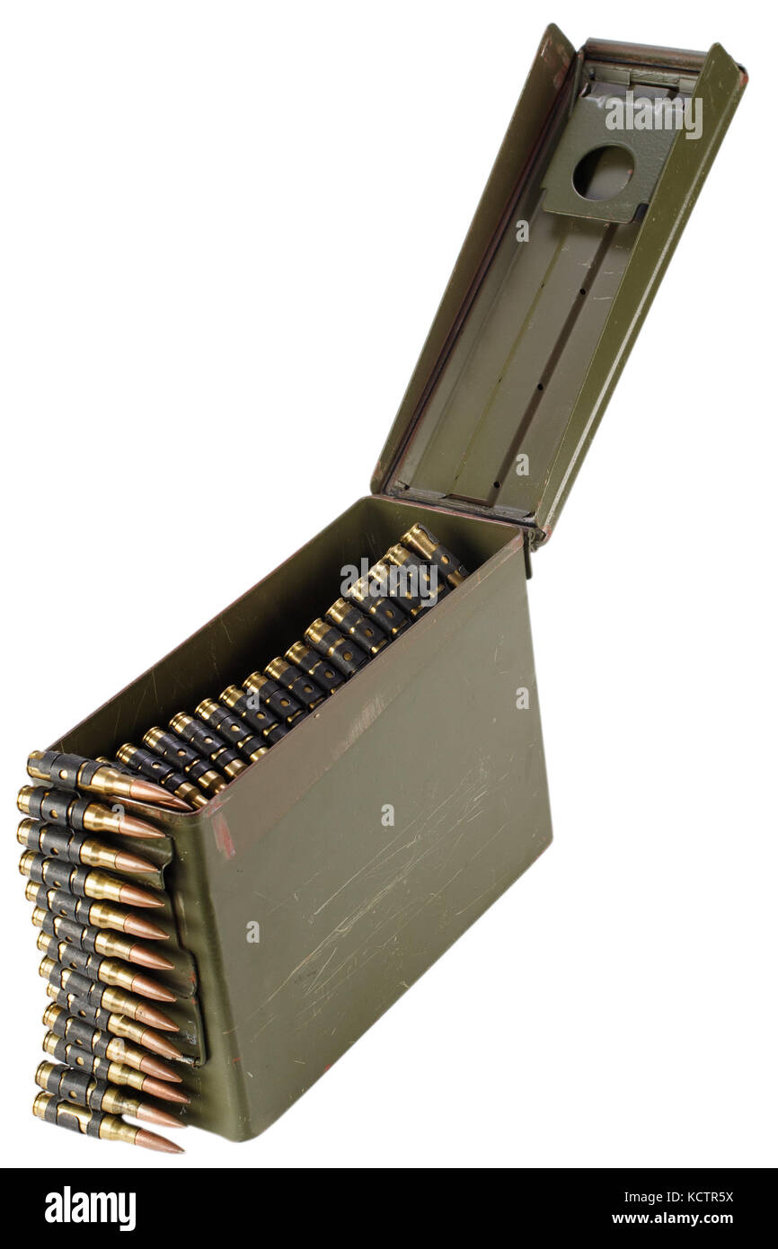 .30 Cal Metal Ammo Can with ammunition belt Stock Photo