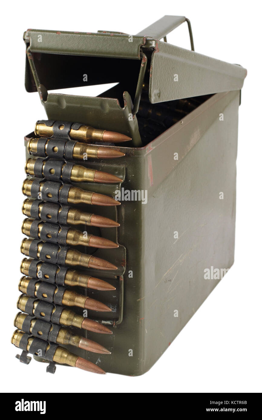 .30 Cal Metal Ammo Can with ammunition belt - Stock Image