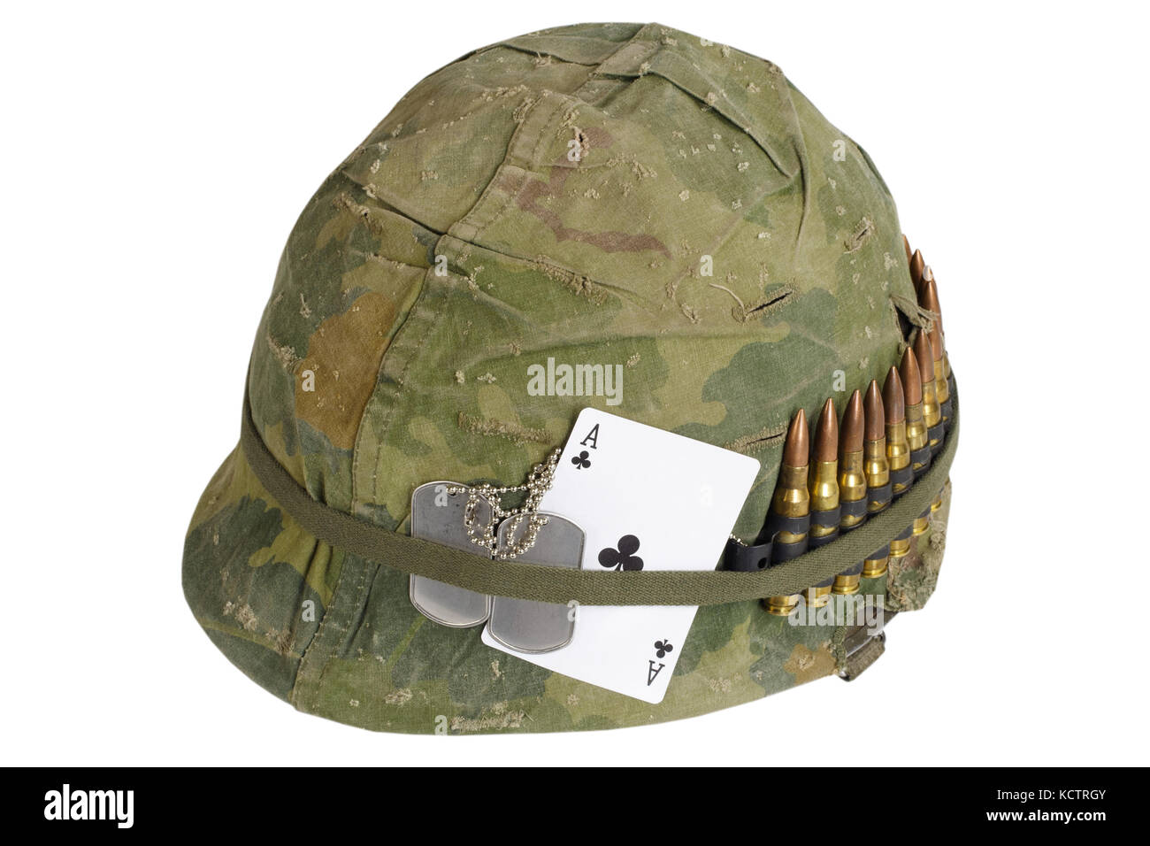 Us Army Helmet Vietnam War Period With Camouflage Cover And Ammo Stock Photo Alamy