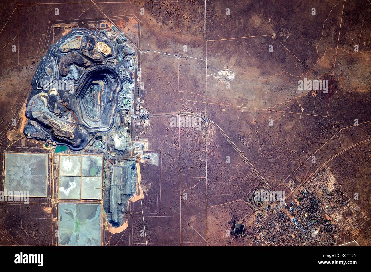 View from the International Space Station of the massive Jwaneng diamond mine in Botswana from Earth Orbit. - Stock Image