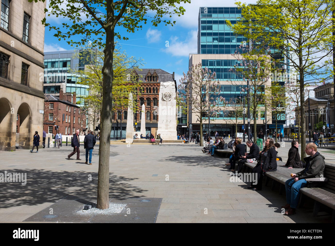 St Peter's Square in Manchester UK - Stock Image