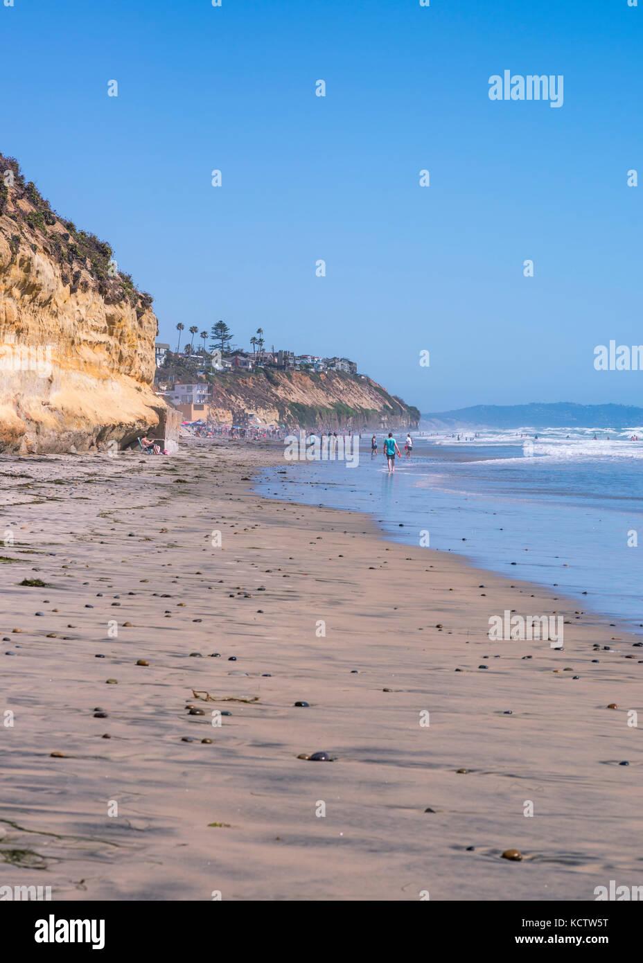 Stone Steps Beach looking south. Encinitas, California, USA. - Stock Image