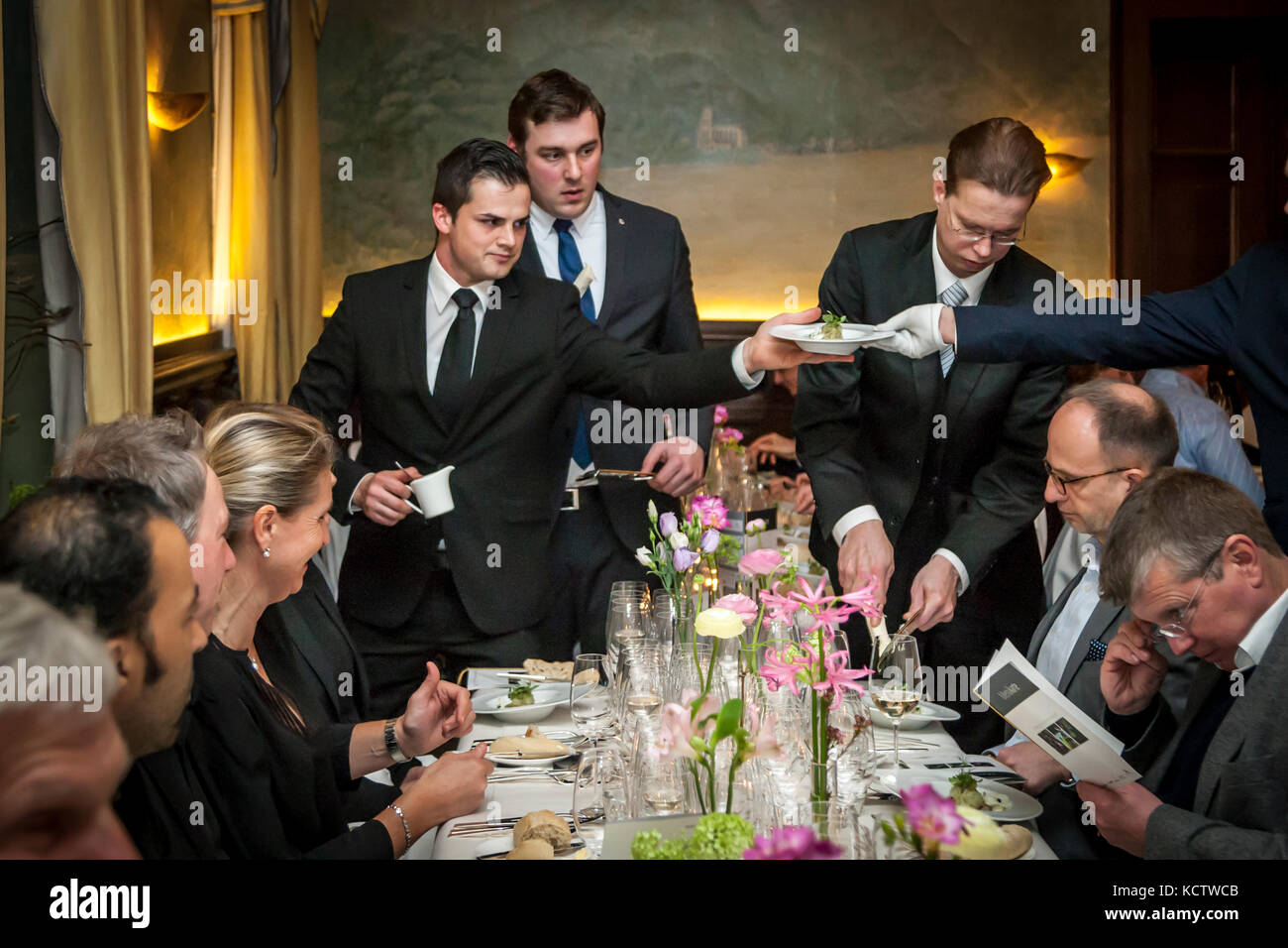 Waiters Serving In A Restaurant Of Gourmet Festival