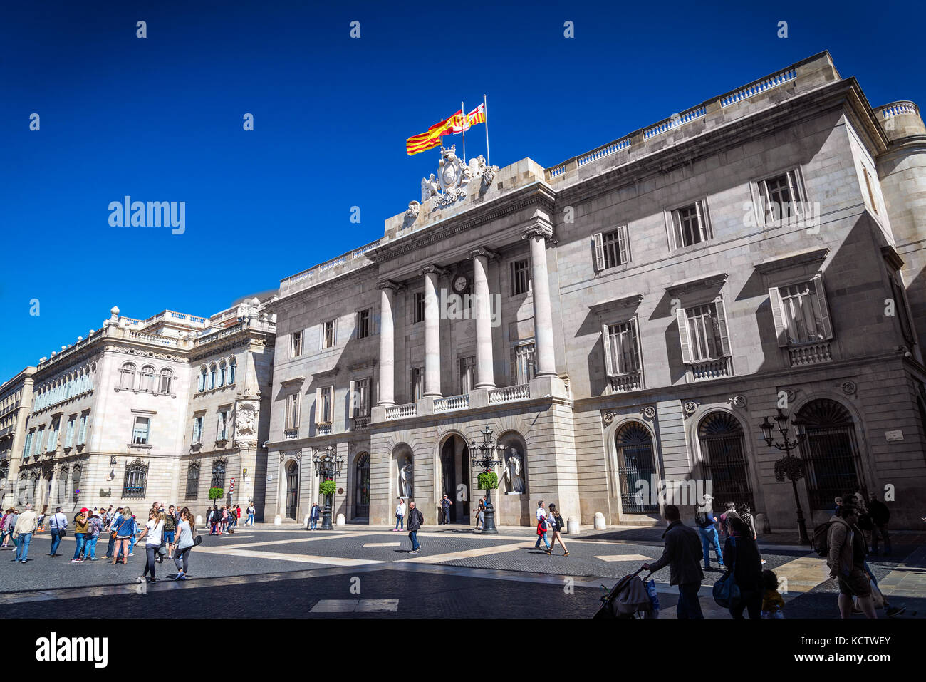 Generalitat Palace building of the Catalan government at Plaza de Sant Jaume barcelona spain - Stock Image