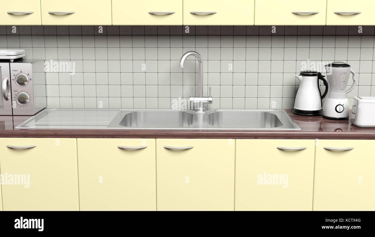 3d Kitchen Cabinet Closeup With Sink Cupboard And