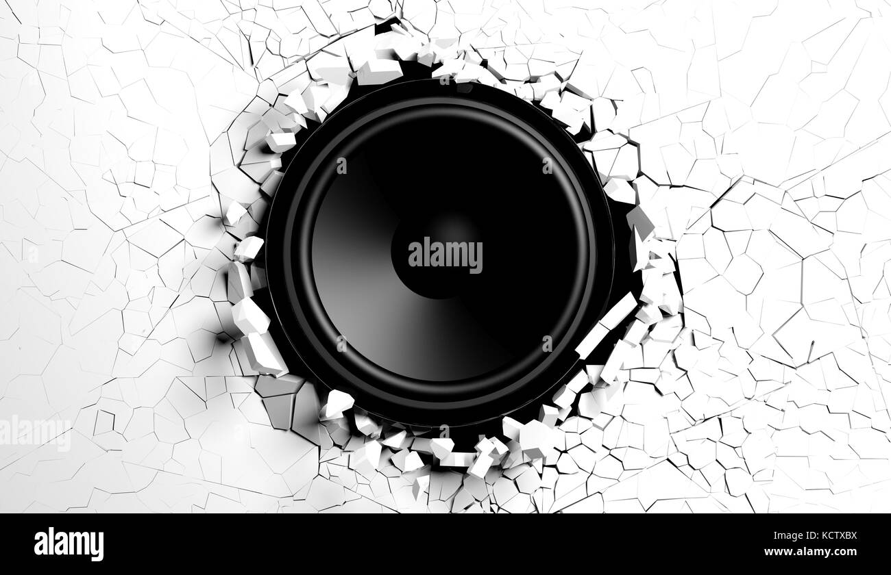 White wall breaks from sound with loudspeaker illustration - Stock Image
