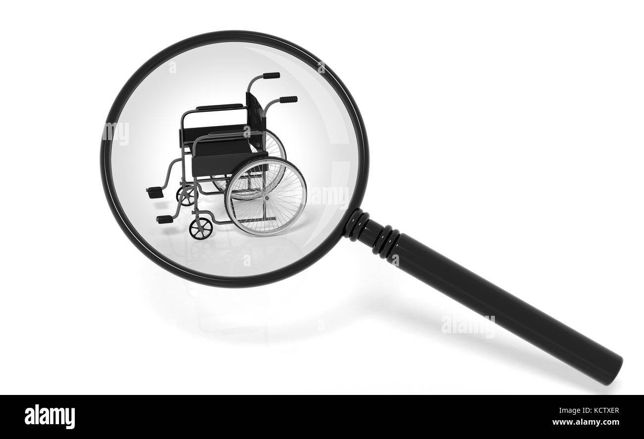 Black disability wheelchair under magnifier isolated on white - Stock Image