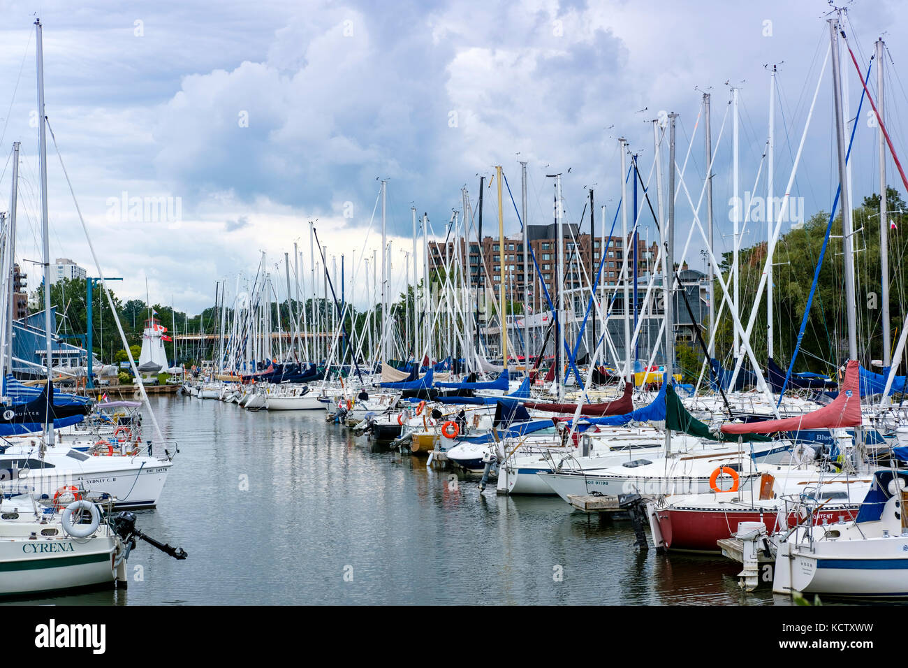 Oakville Marina with docked sailboats on Sixteen Mile Creek, Tannery Park, Oakville, Ontario, Canada. Stock Photo