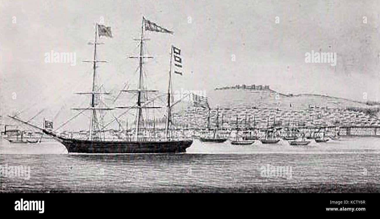 1852 - The Barque JUANITA at Smirna Bay in 1852 - Captain at that time was Joseph Cheever - Constructed at  Yarmouth, - Stock Image