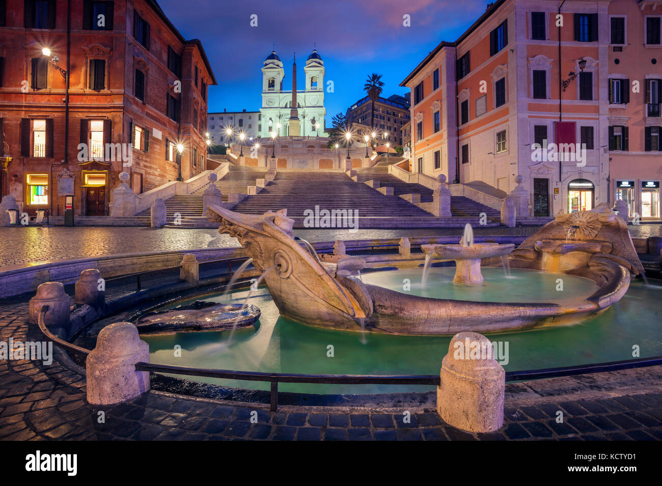Rome. Cityscape image of Spanish Steps in Rome, Italy during sunrise. - Stock Image