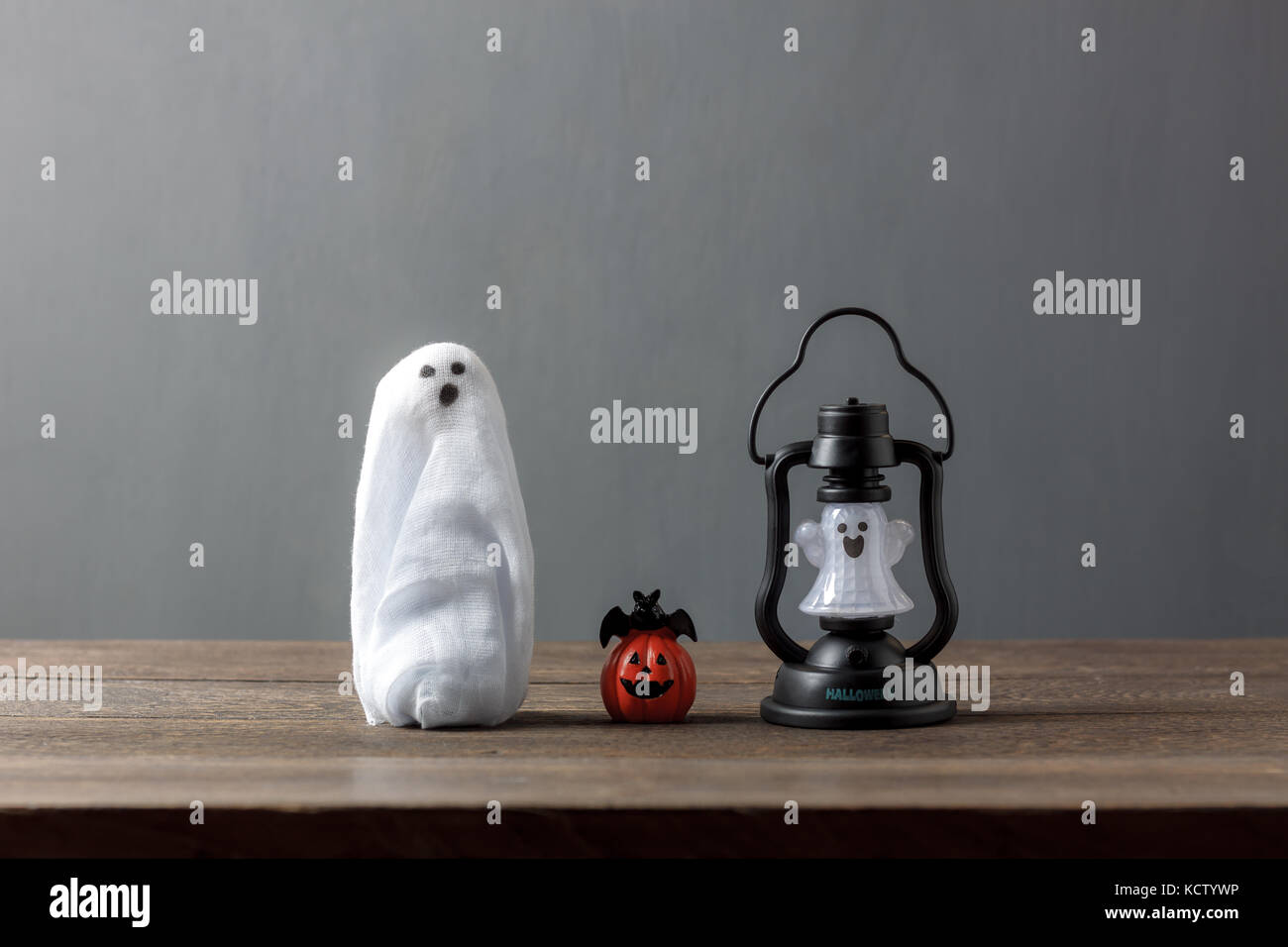 Mix difference objects of Happy Halloween decoration festival concept background.Essential accessory items on modern - Stock Image