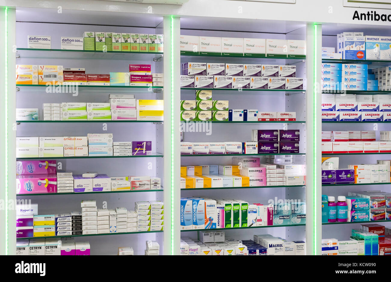 SIDE, TURKEY   4 OCTOBER , 2017: Pharmacy Cabinets With Medicines And Drugs  Tablets And Food Additives