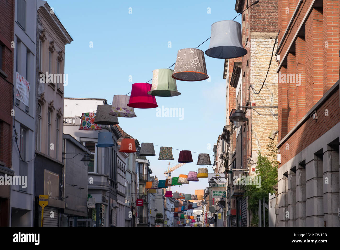 Street in center of the city decorated with giant lamp shades on street in center of the city decorated with giant lamp shades on october 8 2017 in mons belgium aloadofball Choice Image