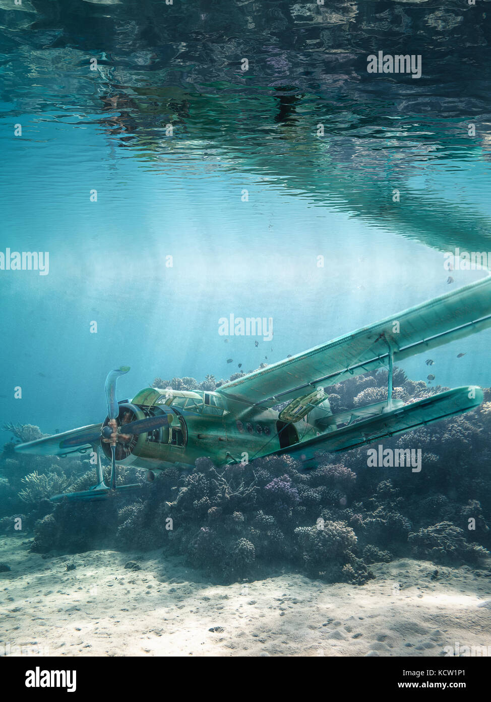 Airplane wreck is underwater - Stock Image