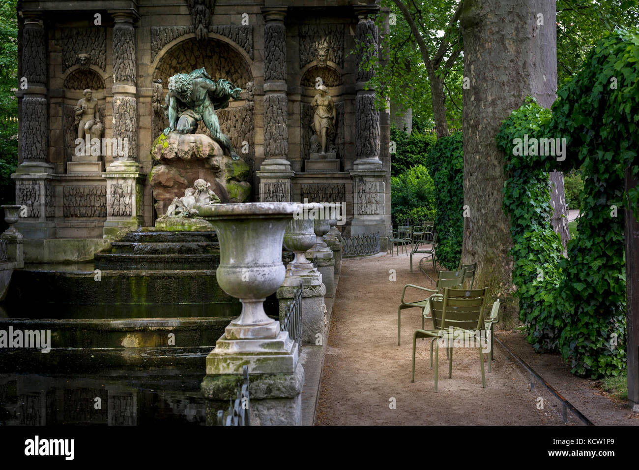 The Medici Fountain (fr La fontaine Médicis), a monumental fountain in the Jardin du Luxembourg in the 6th - Stock Image