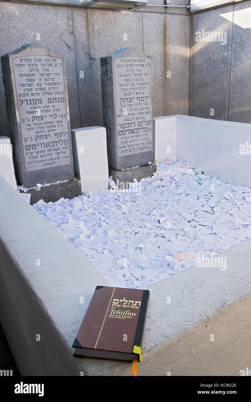 A book of Psalms at the site of the burial of the last 2 Lubavitcher Rebbes. In Montefiore Cemetery in Cambria Heights, Stock Photo