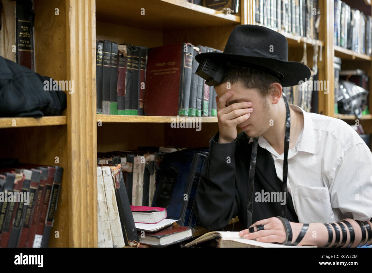 A religious Jewish young man wearing phylacteries at morning prayers in a synagogue in Brooklyn, New York. - Stock Image