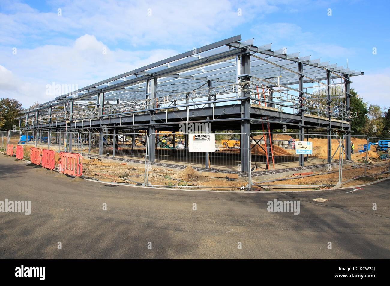 New industrial units under construction at Riduna Park, Melton, Suffolk, England, UK Stock Photo