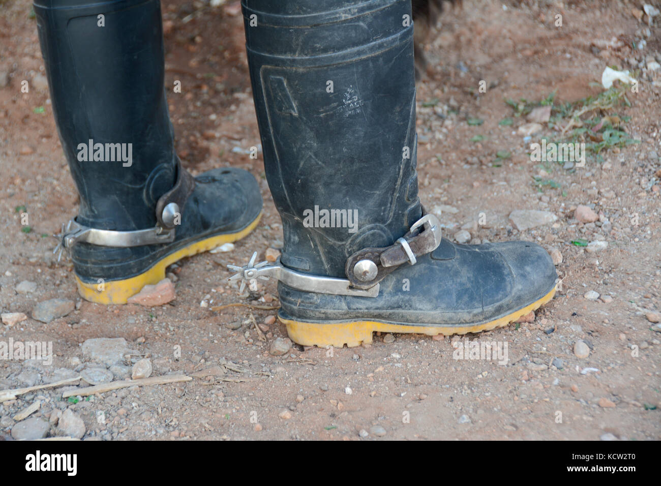 Cuban cowboy boots, rubber boots with spurs, Trinidad,  Cuba - Stock Image