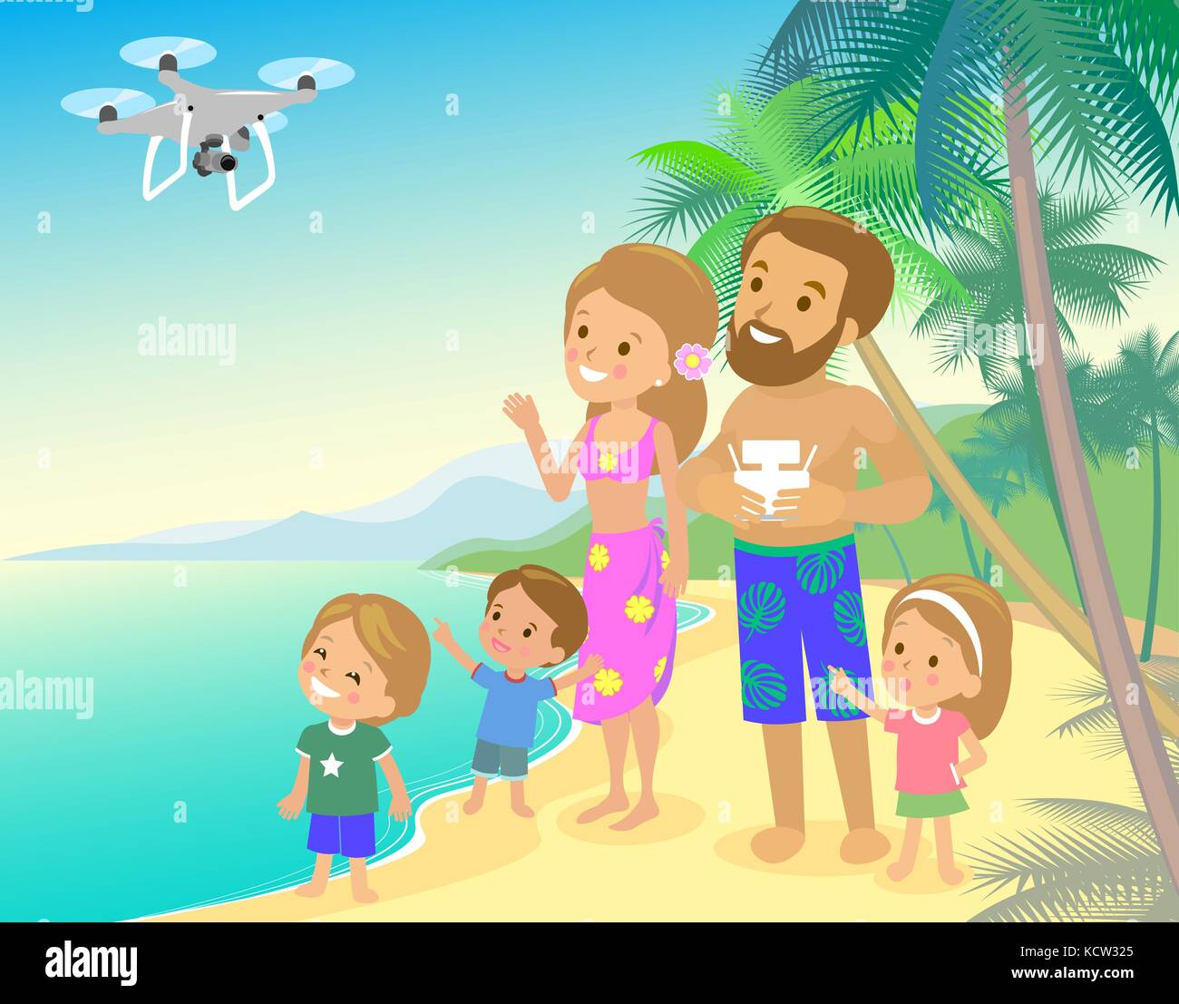 Big family mom dad and three children kids boy girl on vacation seashore ocean sea with quadcopter drone taking - Stock Vector