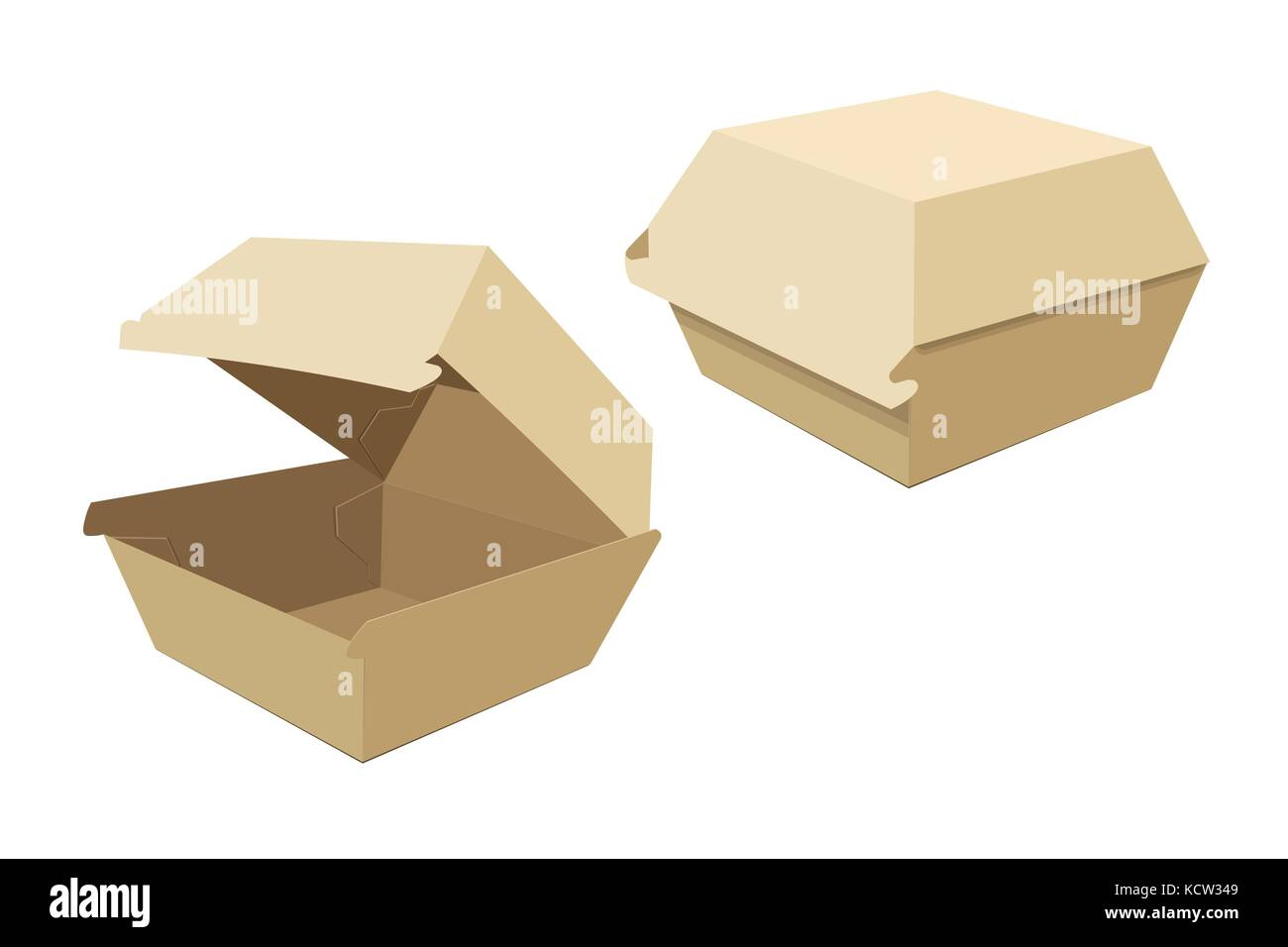 Beige boxes for hamburgers. Storing food delivery. Vector illustration - Stock Image